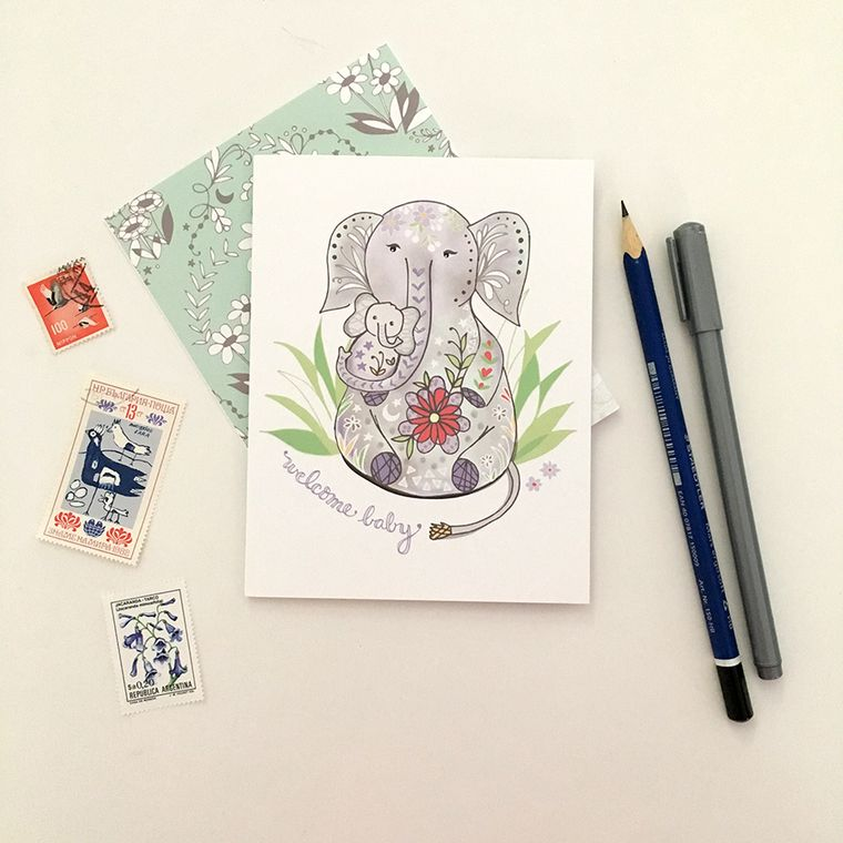 Baby Elephant Greeting Card - Elephant Card Elephant new baby card