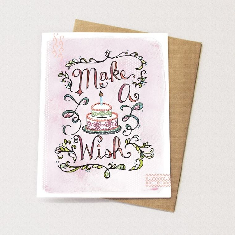 Make a Wish Cake Card - Blank card for birthday, Birthday Card