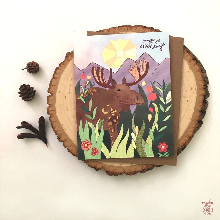Sun Moose Card - moose greeting cards, moose and mountains, cynla paper goods, stationery, giant moose birthday card