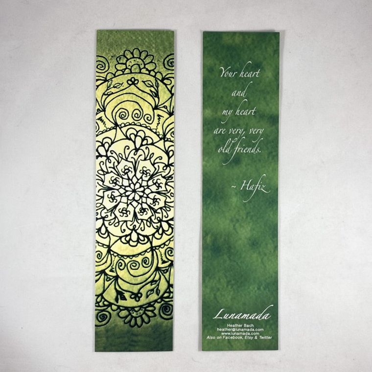 Green Hafiz Mandala Bookmark 8.25""