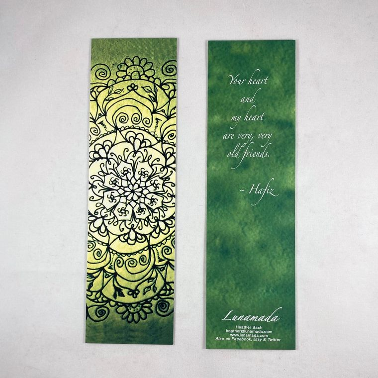 Green Hafiz Mandala Bookmark 7""