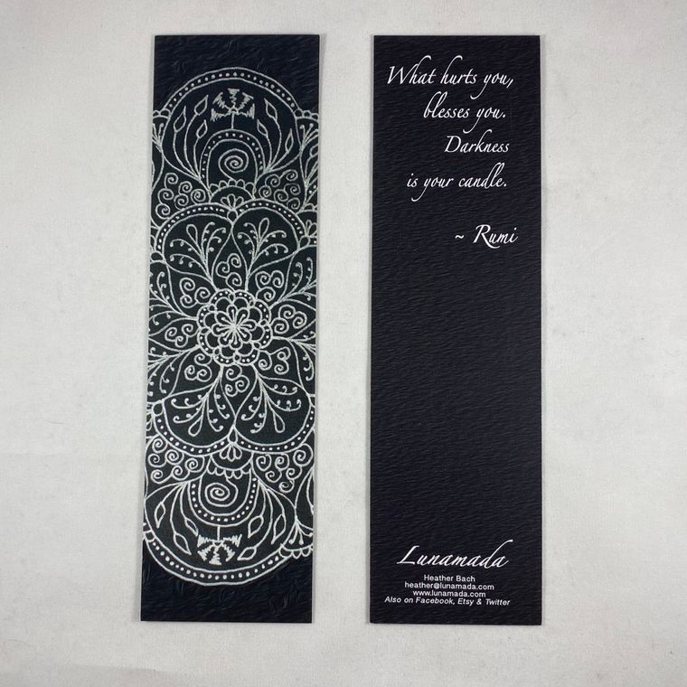 Black Rumi Mandala Bookmark 7""