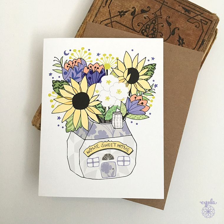 New Home Card - congratulations new home greeting card, home sweet home flowers