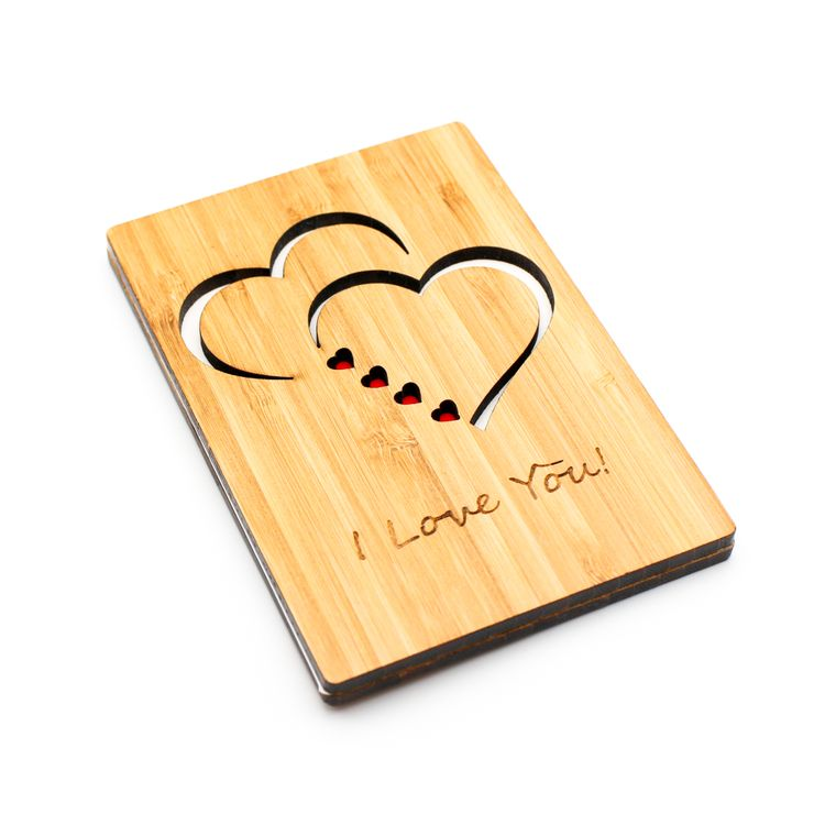I Love You, Valentine's Day, Anniversary Greeting Card, Made From Sustainable Bamboo