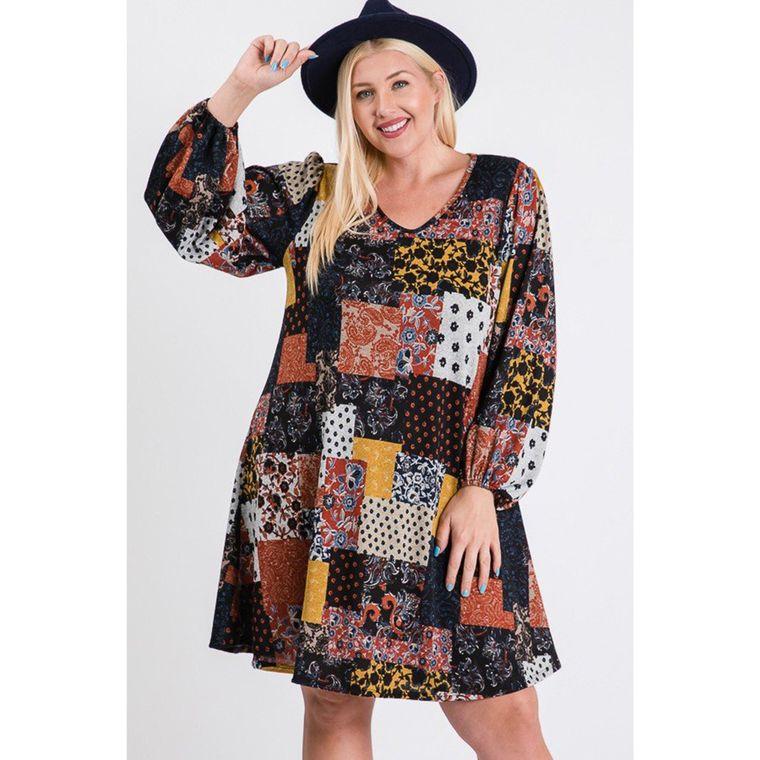 Plus Size Puff Long Sleeve A-Line Dress