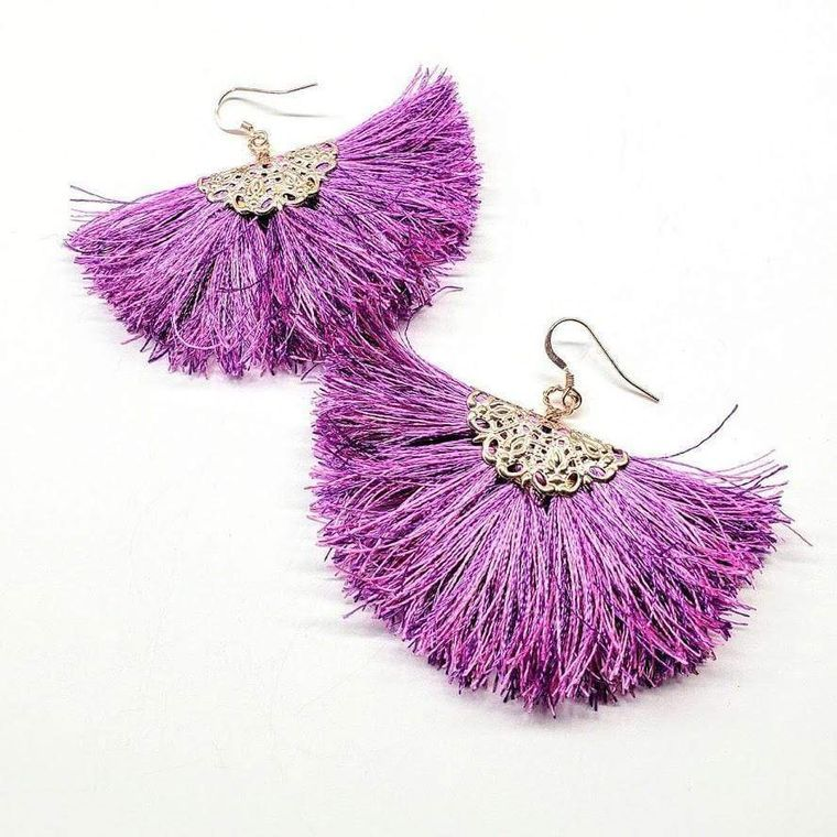 Filigree Silk Fan Tassel Earrings