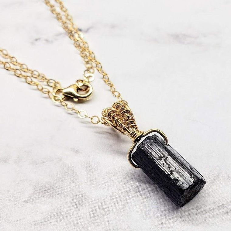Raw Black Tourmaline Gemstone Necklace