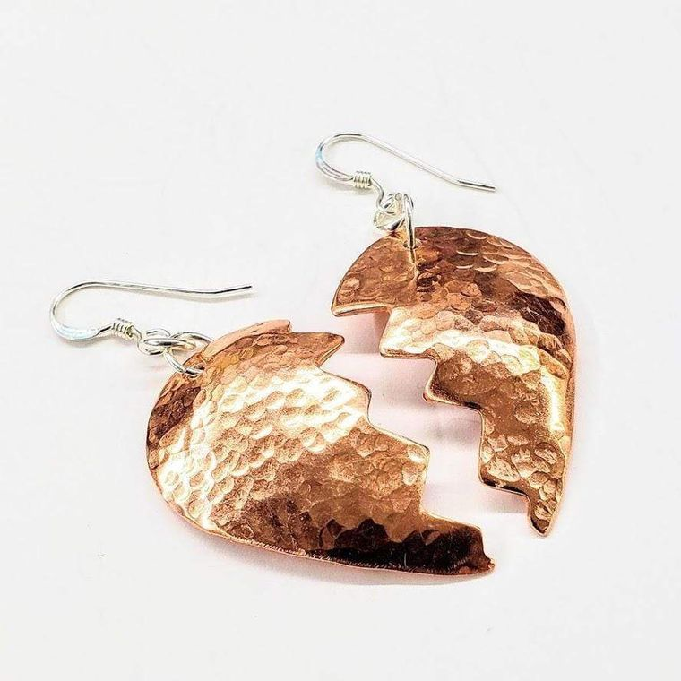 Broken Heart Earrings from Sculpted Copper