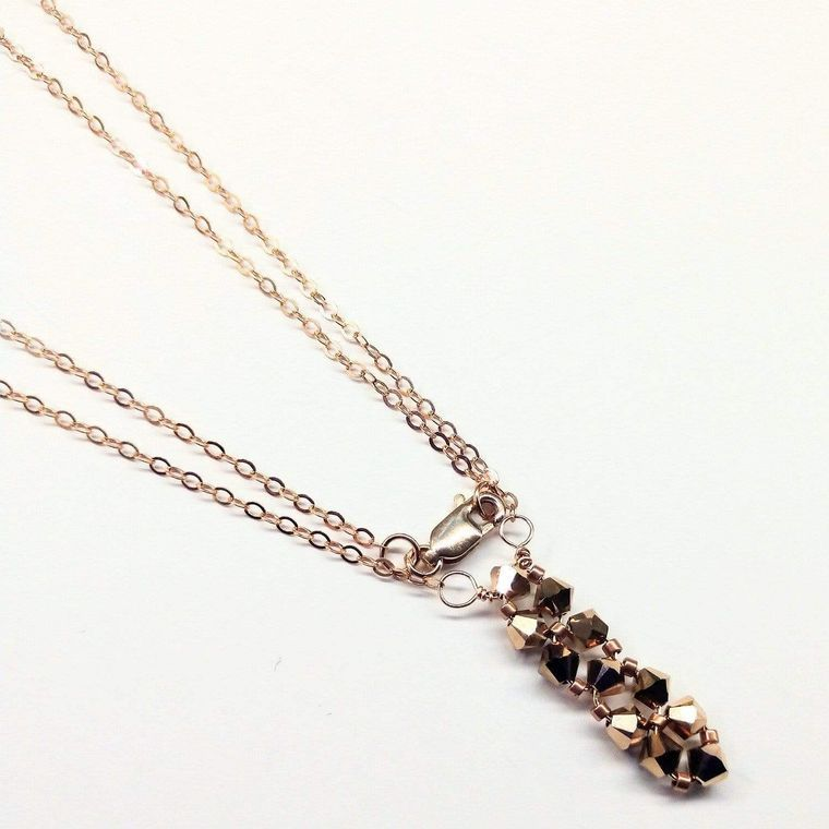 Super Sparkly Vertical Beaded Rose Gold Crystal Bar Necklace