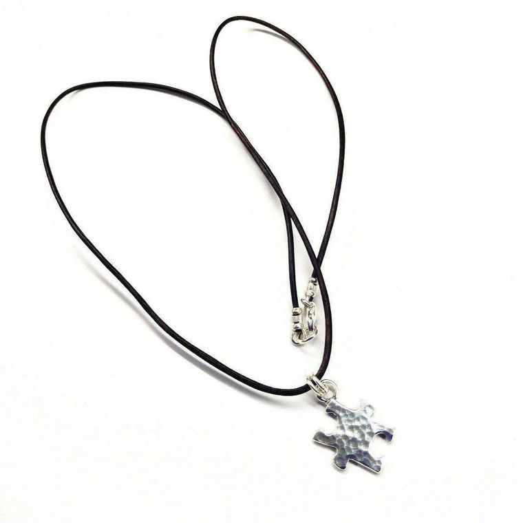 Sterling Silver Autism Awareness Puzzle Piece Leather Necklace