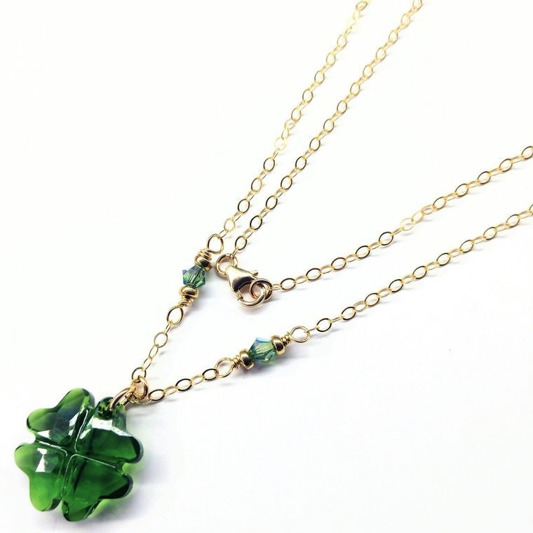 Dark Green Sparkly Swarovski Crystal Lucky Clover Necklace