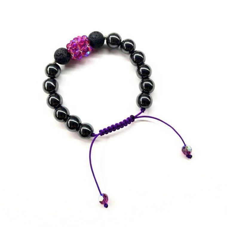 Glamorous Hematite Gemstone Fuchsia Crystal Lava Rock Bracelet