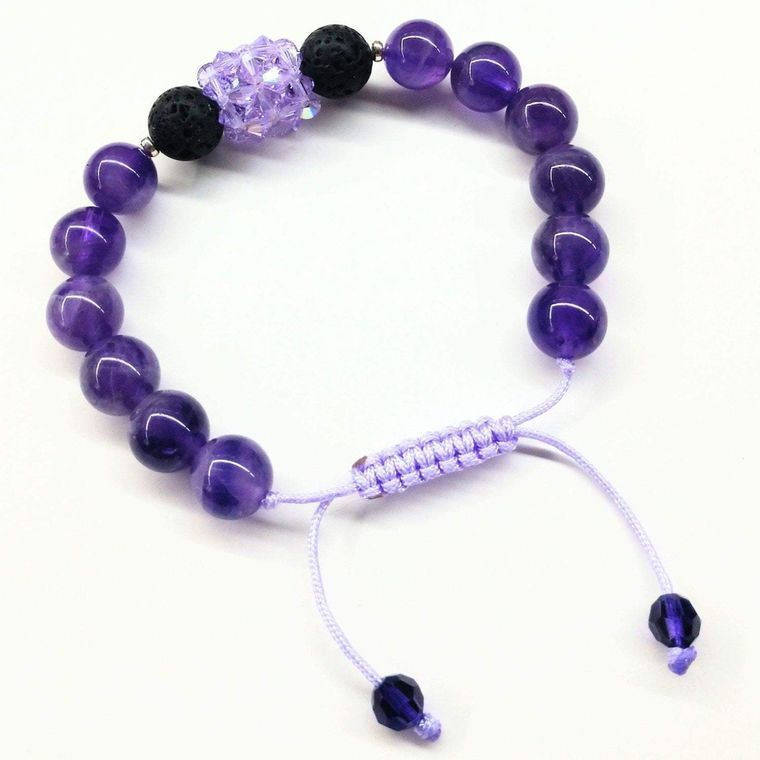 Glamorous Amethyst Gemstone Lava Rock Bracelet