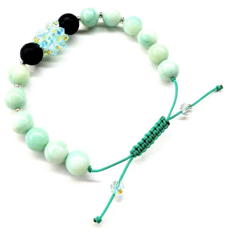 Glamorous Mint Green Amazonite Gemstone Crystal Lava Rock Bracelet