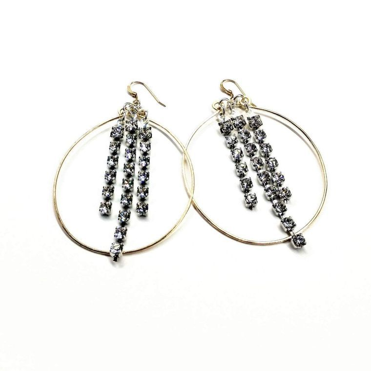 Gold Oval Hoop Crystal Chain Earrings