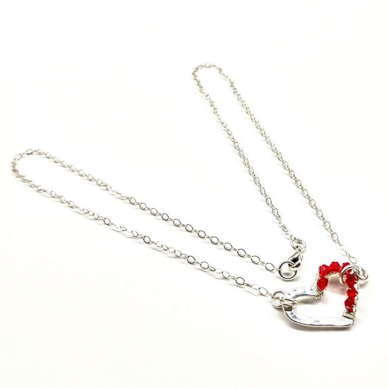 Sterling Silver Wrapped Red Crystal Heart Necklace