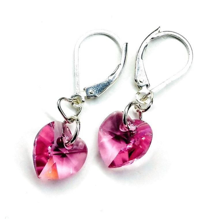 Sterling Silver Pink Crystal Heart Earrings