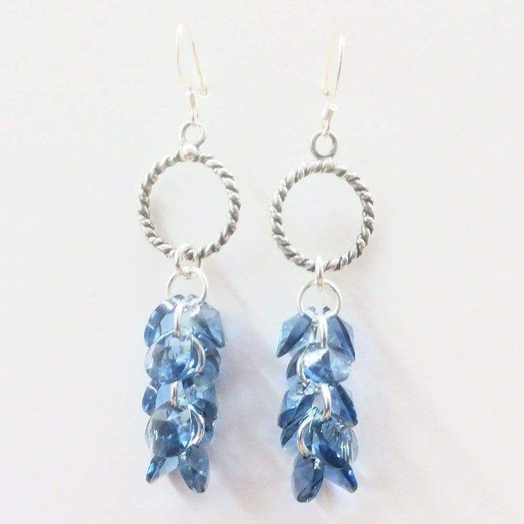 Sterling Silver Denim Blue Crystal Cluster Earrings