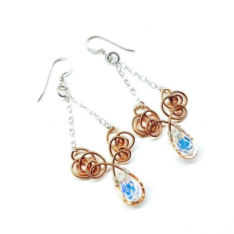 Wire Sculpted Crystal Drop Chandelier Angel Wing Earrings