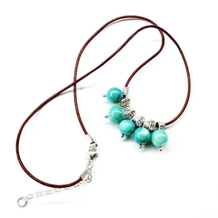 Silver Green Blue Shell Bead Charm Leather Necklace