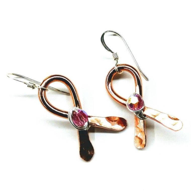 Breast Cancer Awareness Crystal Copper Ribbon Earrings