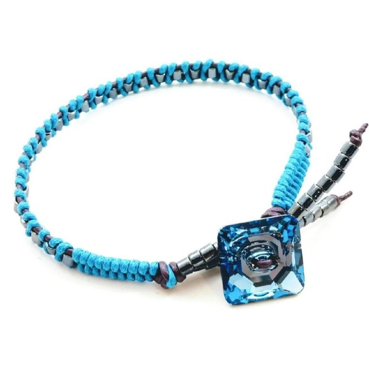 Aqua Hematite Bead Braided Square Swarovski Crystal Button Bracelet