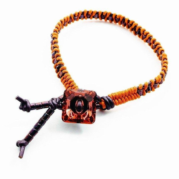 Orange Purple Braided Leather Crystal Button Bracelet