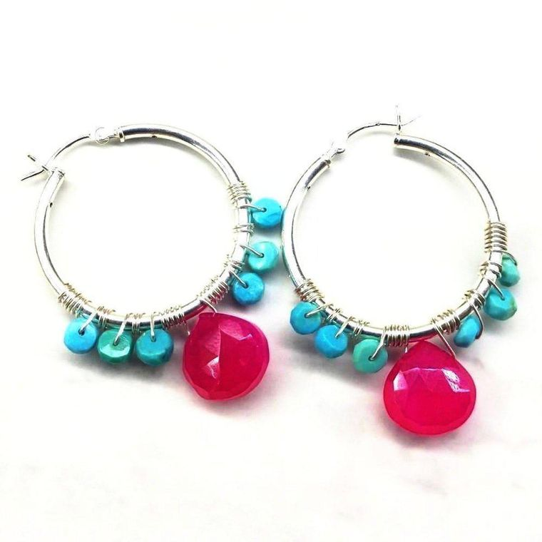 Pink and Turquoise Silver Wire Wrap Hoop Earrings