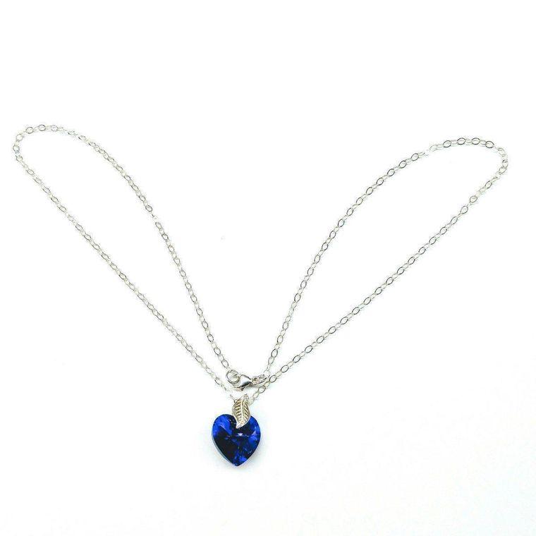 Purple Crystal Heart Sterling Silver Leaf Necklace