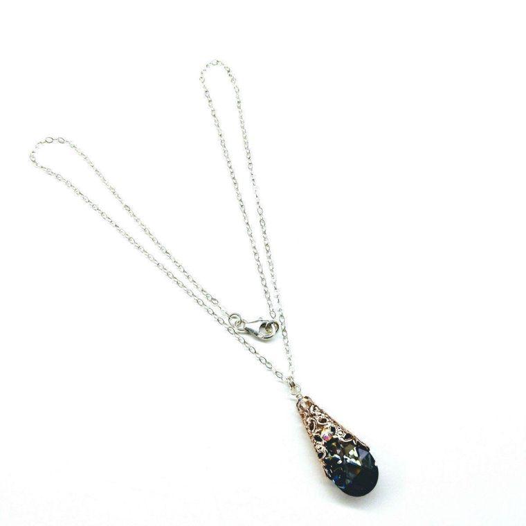 Rose Gold Filigree Wrap Crystal Black Diamond Pendant Necklace