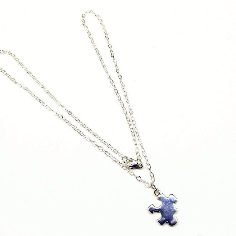 Sterling Silver Autism Awareness Puzzle Piece Chain Necklace