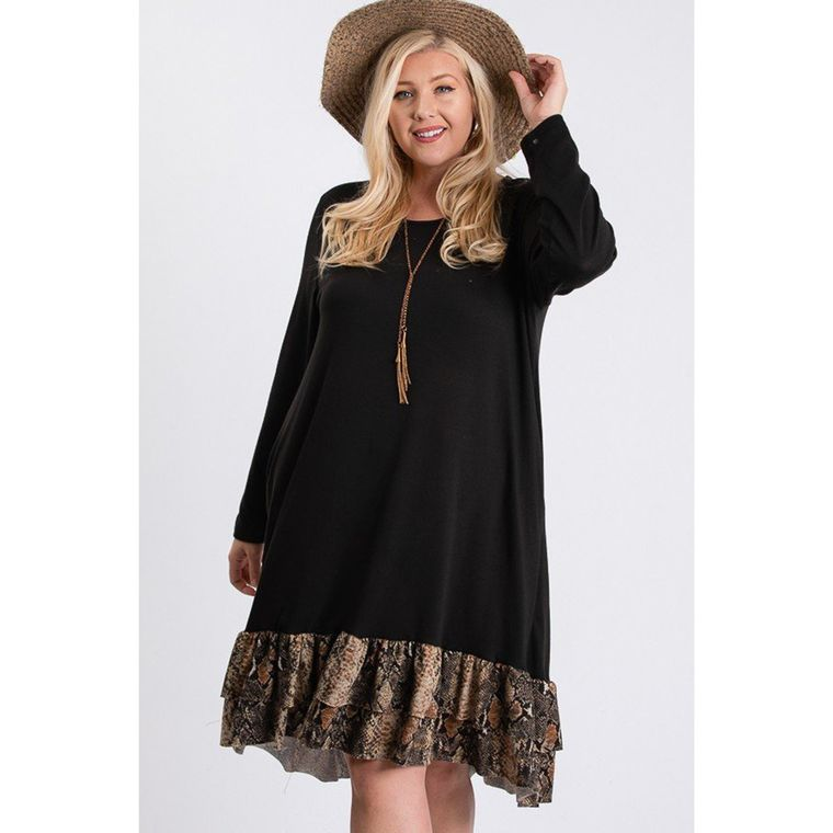 Plus Size SNAKESKIN Round Neck Long Sleeve Dress