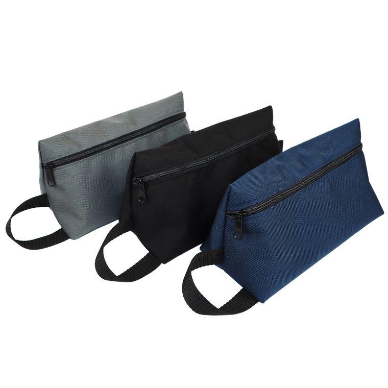Men's / Women's Nylon Zipper Pouch Toiletry Bag / Dopp Kit (Black)