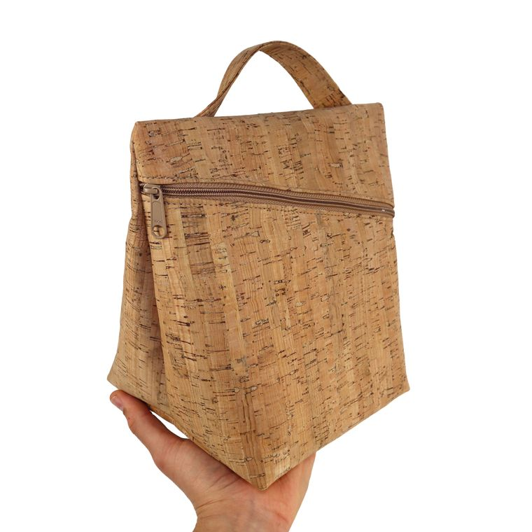 Cork Zippered Insulated Lunch Bag / Lunch Pail/ Lunch Box