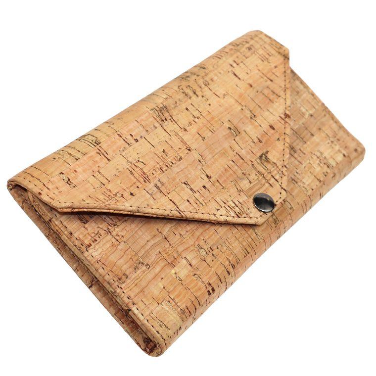 Women's Cork Envelope Wallet, Vegan Women's Clutch Wallet Hand Made in USA