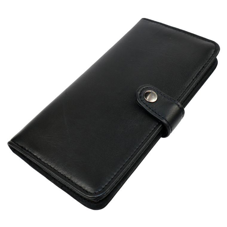Women's Lambskin Leather Black Bifold / Billfold Wallet, Womens Clutch Hand Made in USA