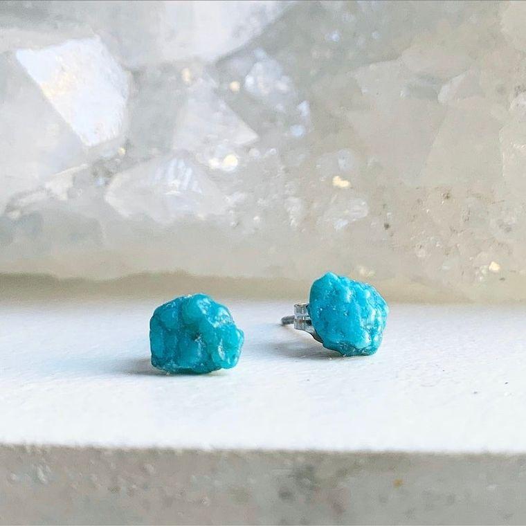 Raw Turquoise Stud Earrings