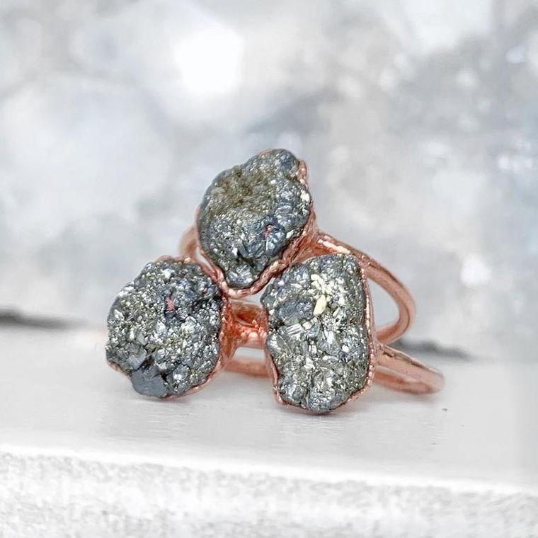 Raw Pyrite Ring