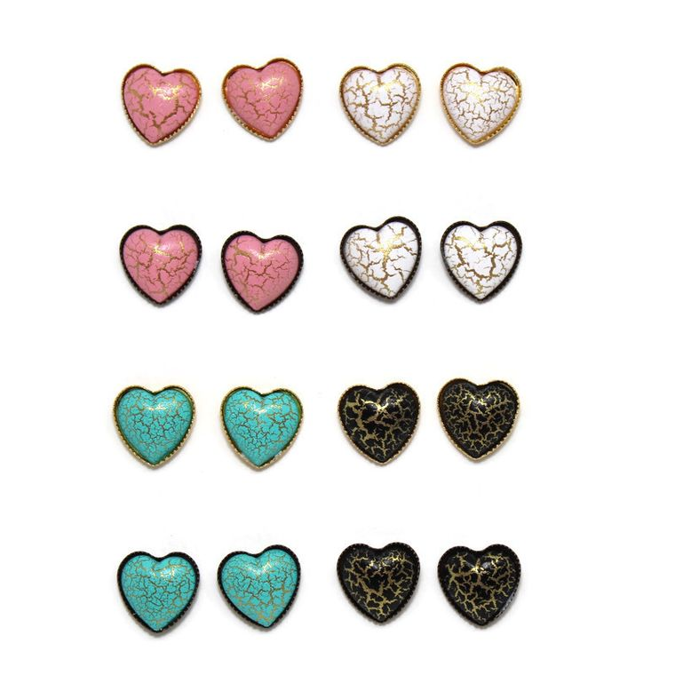 Crackle Heart Dome Earring 12 Pack