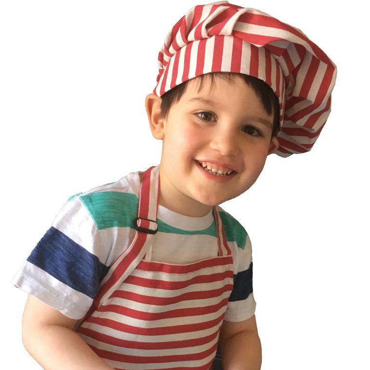 Red Stripe Kids Apron & Chef Hat