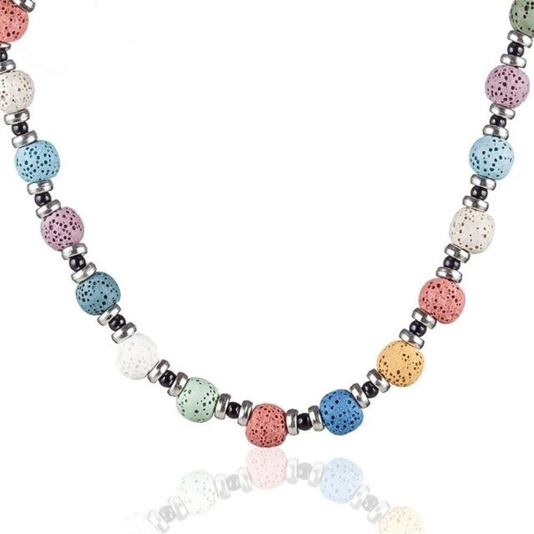 Rainbow Lava Stone Essential Oil Necklace