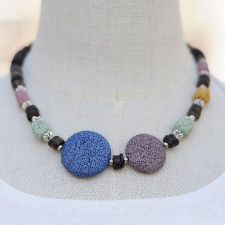 Blue and Byzantium Purple Lava Stone Essential Oils Necklace
