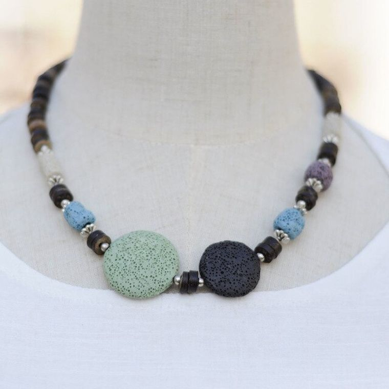 Green and Black Lava Stone Essential Oils Necklace