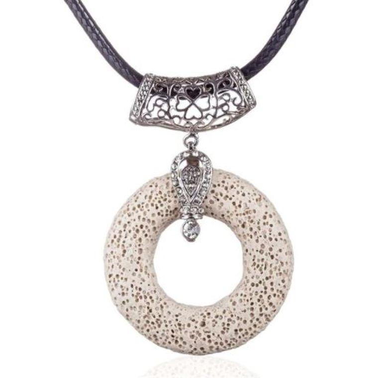 Pearl White Circular Lava Stone Pendant Essential Oils Necklace