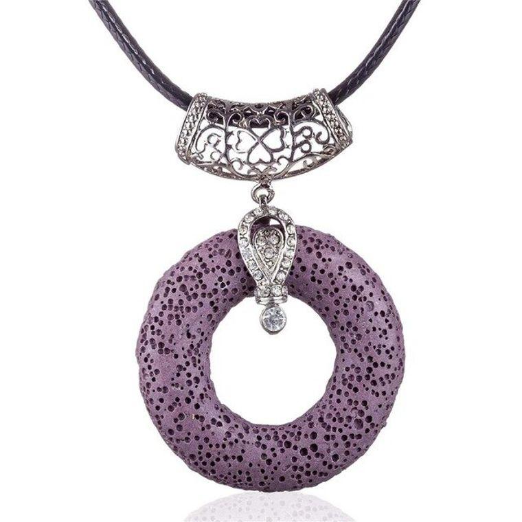 Purple Circular Lava Stone Pendant Essential Oils Necklace