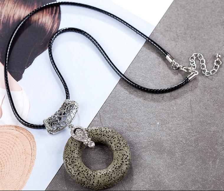 Dark Green Circular Lava Stone Pendant Essential Oils Necklace