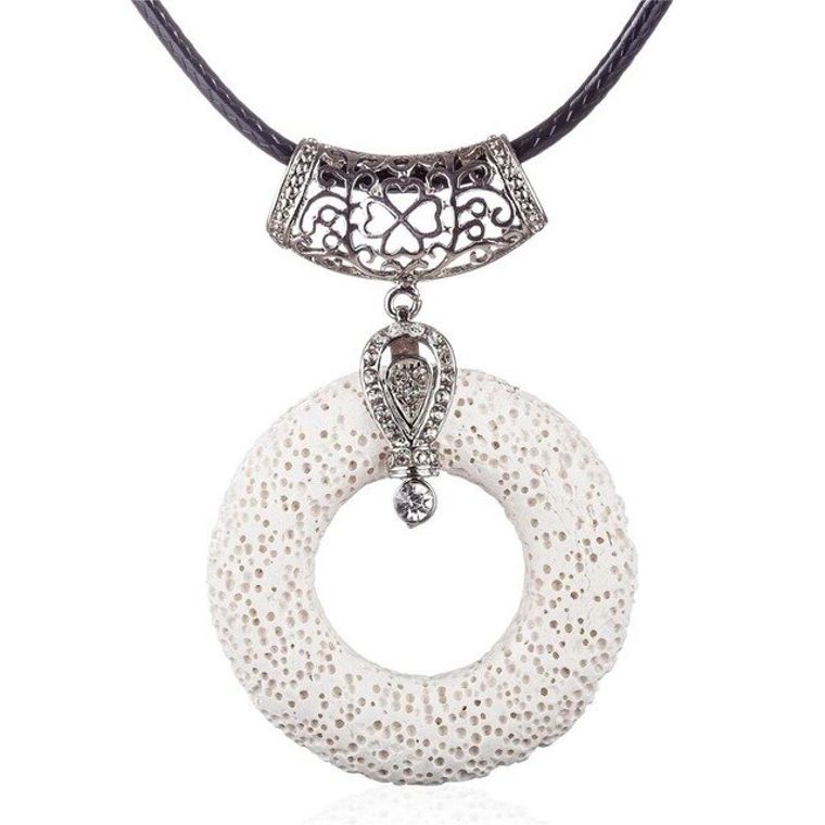 Bright White Circular Lava Stone Pendant Essential Oils Necklace