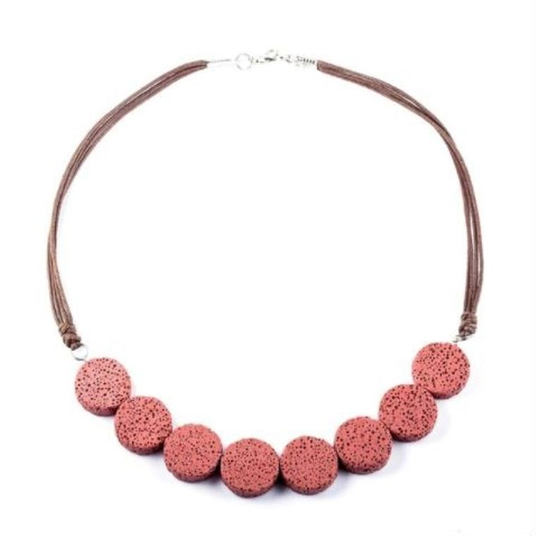 Red Tablet Beads Lava Stone Essential Oils Necklace