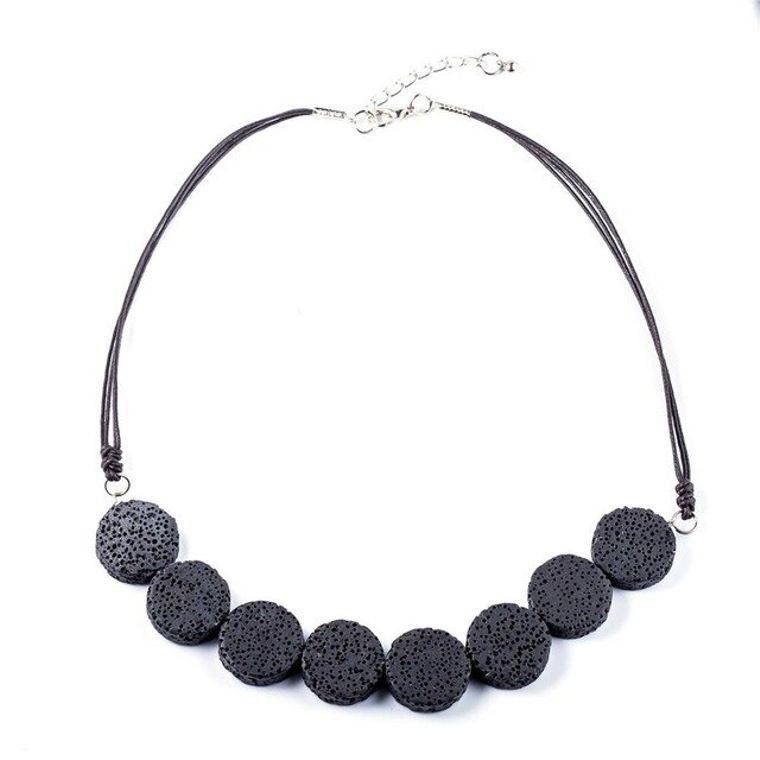 Black Tablet Beads Lava Stone Essential Oils Necklace