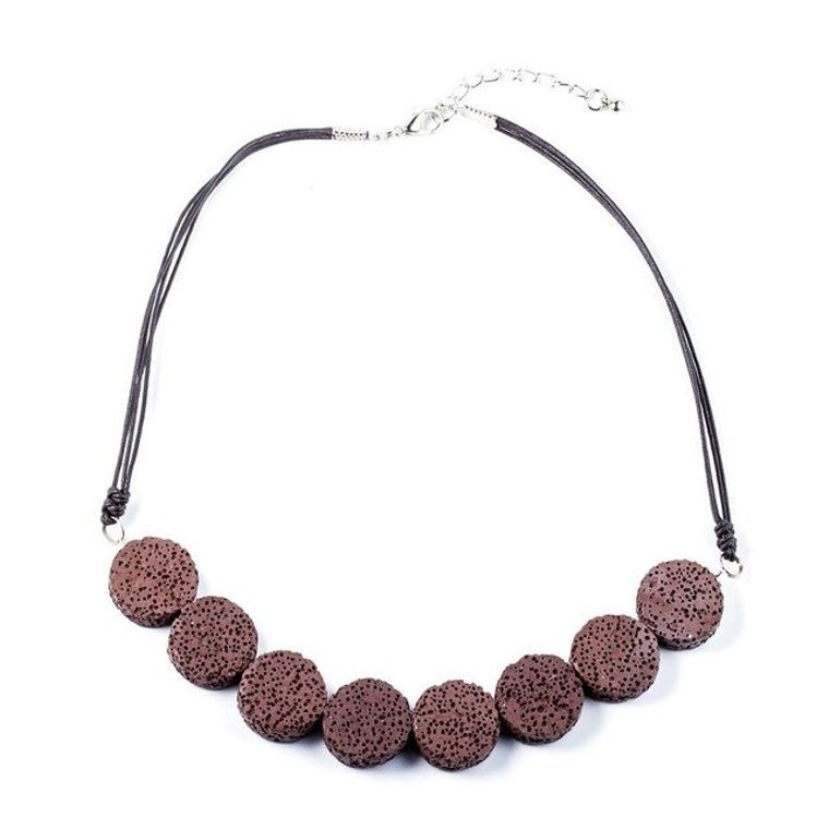 Burgundy Tablet Beads Lava Stone Essential Oils Necklace
